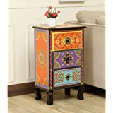 JAE Wooden Handpainted Side - Entryway Table | Wooden Bedside Table | Traditional Chest of Drawer Side Table for Living Room