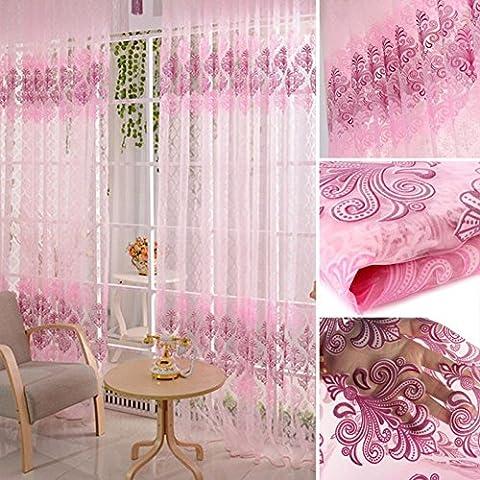 cuteco Vintage Totem flores SHEER cortinas Voile ventana habitación separador cortina hogar