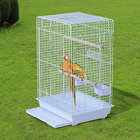 Pawhut – Voliera Gabbia per Uccelli Realizzato in Filo di Ferro con Vassoio 52 x 41 x 78cm Bianco
