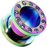 tumundo 1x o 1 Set Flesh Estensore Tunnel Plug Piercing Orecchio Tappo Strass 1,6-10mm Colore Iride Acciaio Inossidabile