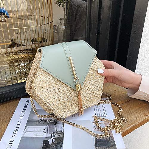 Romote Hexagon Mulit-Art-Stroh + Leder-Handtaschen-Frauen-Sommer-Rattan-Beutel-handgemachte gesponnene Strand Kreis Böhmen Schultertasche -