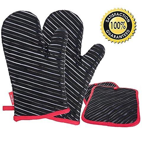 Deik Ofenhandschuhe und Topflappen,Hitzebeständige Handschuhe bis zu 240℃, Silikon Anti-Rutsch