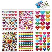 Stickers Coeur, 60 Feuilles Autocollants Adhésifs en Coeur Colorés Stickers pour Les Anniversaires, Saint-Valentin…