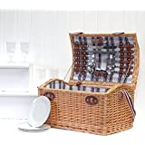 Cesta de la cesta de la comida campestre de 4 personas de Stretford con los accesorios - ideas del regalo para el cumpleaños, la boda, el aniversario y corporativo