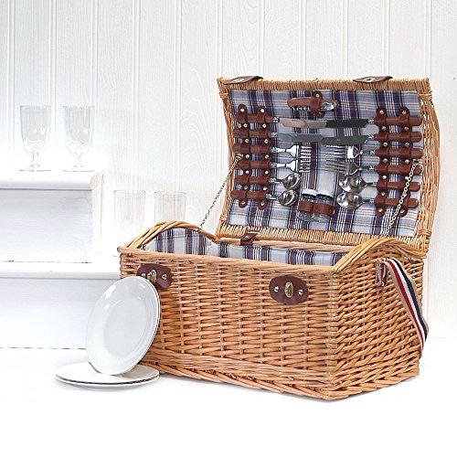 Stretford 4 Picnic Basket Basket Panier avec accessoires - Idées Cadeaux pour Anniversaire, Mariage, Anniversaire et Entreprise