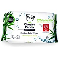 The Cheeky Panda Biodegradable Plastic-Free Bamboo Baby Wipes, 64 Wipes