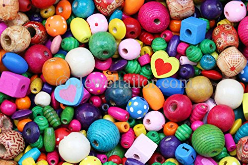 JEWELTAILOR NEW! 150+ Mixed Large Hole Children's/Kids Coloured Wooden Beads 4-45mm + FREE Guide ~ Ideal For Craft Activities & Parties (Craft-party-ideen Für Erwachsene)