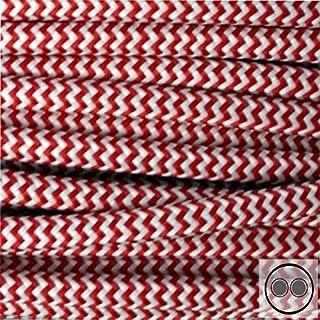 Textilkabel Stoffkabel rot Zick Zack , 2-adrig rund , 2x0,75