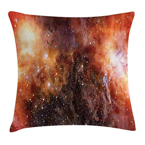 Outer Space Throw Pillow Cushion Cover, Nebula Gas Cloud in Deep Outer Space Galaxy Expanse Milky Way Star Art, Decorative Square Accent Pillow Case, 18 X 18 inches, Burnt Orange Black -