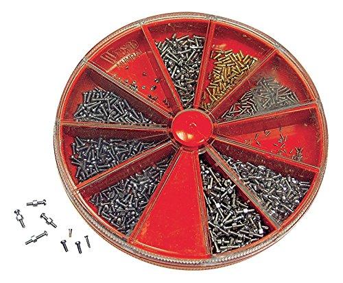 Ca. 1.000 Schräubchen in Fächerdose. Kleinschrauben Sortiment Schlitzschrauben von M 0,6 bis M 1,4 in verschiedenen Längen und Materialien für Uhren, Instrumente, Optik - C326048