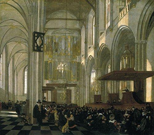 Das Museum Outlet–Innere der nieuwe kerk in Amsterdam während einer service. ca1658, gespannte Leinwand Galerie verpackt. 29,7x 41,9cm