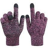 Damen Winter Handschuh Touchscreen - Fäustlinge Damen Fahrradhandschuhe Warme Rutschfest Strick Handschuh Rutschfest für Frau (Lavendel, M)