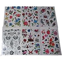 Un Book of 6 Feuilles 85+ Dames De Filles Noir-rouge Fleurs Roses Arty Papillons Tatouages Temporaires pour les parties, cadeaux, etc - par Fat-catz-copie-catz