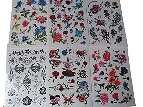 One Book of 6 Sheets 85+ Girls Ladies Black Red Roses Flowers Arty Butterflies Temporary Tattoos for parties, gifts, etc - by Fat-Catz-copy-catz