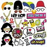 90s fête Photo Booth Props, Bizoerade 36pièces 90's Photo Booth Accessoires Décoration de fête pour 1990avec chevilles en bois pour Hip Hop, fête années 90Throwback fête