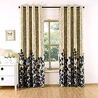 2x Cortinas Opacas Estampadas para Ventanas de Habitación Dormitorios Salón, 140x240cm, 210g/m² 1,75kg (Hojas Azul-Negro)