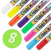 Chalk Pens Wet & Dry Wipe Markers for Blackboard Whiteboard Chalkboard Window, Mirror, Bistros Glass, Set of 8 Colors, 6 mm Reversible bullet & chisel Tip, Water-base, Liquid