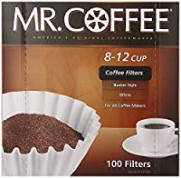 Mr. Coffee Basket Coffee Filters, Cup, White Paper, 8-inch, 100-Count Boxes (Pack of 12)
