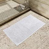 Lifewit Rutschfeste Badematte Mikrofaser Badteppich Chenille Teppich Matte für Badezimmer 50x80cm Weiß