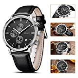 SONGDU Mens Big Face Multi-function Chronograph Quartz Watch With Alloy Watch Case Black Pin Buckle Leather Strap