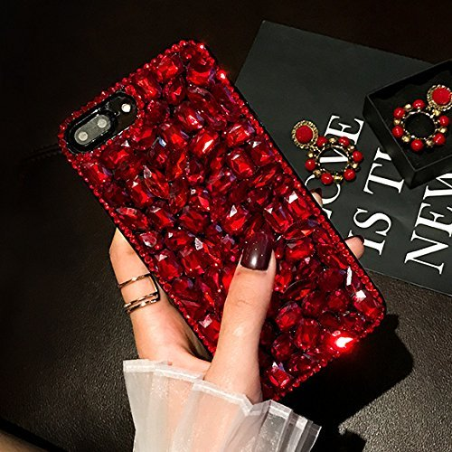 Paillette Coque Housse Etui pour iPhone 7 Plus/8 Plus, iPhone 7 Plus Coque en Silicone Glitter avec Tassel, iPhone 8 Plus Silicone Coque pour Femme Fille Housse Transparent Etui Gel Slim Case Soft Gel Rouge
