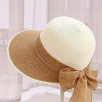 JYJSYM Sombrero, Sombrero de Sol, Sombrero de Paja, Sombrero de Verano Verano Hembra sombrilla Anti - UV, Protector Solar, Sombrero Beach Tour, Deportes al Aire Libre, Sombrero de Paja,White C