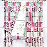 Dreams & Drapes Shantar Kissenbezüge, Blau, Pink, Pair of 66x72 Curtains
