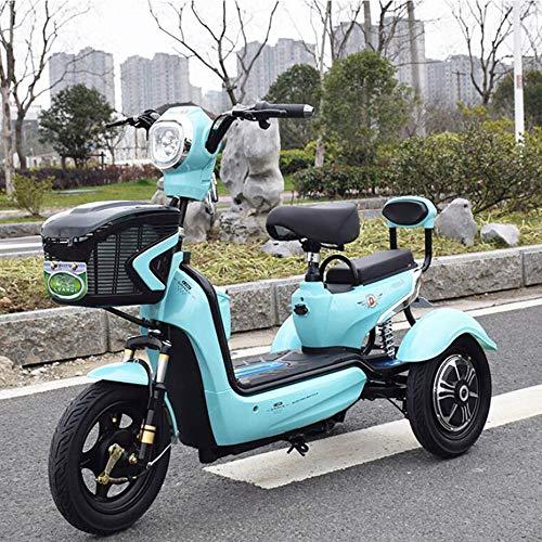 HXYT Triciclo Elettrico, Outdoor/Tempo Libero/Adulto Anziani Scooter Elettrico motorino Litio Verde 20A Batteria sostenibile Crociera 50 km - Blu