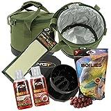 NGT isoliert Köder Bin Boilies mit Crusher Flüssigkeiten und PVA Bag Karpfenangeln Set