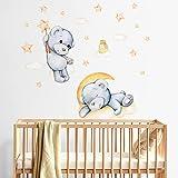 R00576 Adesivi Murali Soffice Effetto Tessuto Orsetto Decorazione Muro Bambino Neonato Nursery Cameretta Asilo Nido Carta da
