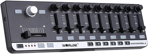 ammoon Controller MIDI Portatile Mini USB Worlde EasyControl.9 9 Slim-Line Controllo