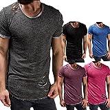 Tefamore Hommes Mode Collier rond de trou Tee shirt Manche courte T-shirt Chemisier (XL, Rose vif)