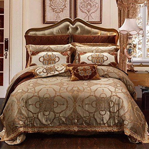 JYTT Bettwäsche Bedruckt Tröster, (Königin König, Gold) 10 stück Luxuriös Brushed Weich und komfortabel Maschine waschbar-A Queen1 (10 Stück Bettwäsche-sets Königin)
