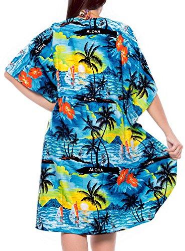 beachwear maillot de bain pour femmes caftans bikini couvrir robe aloha cordon v chemisier col occasionnel poncho lâche Bleu