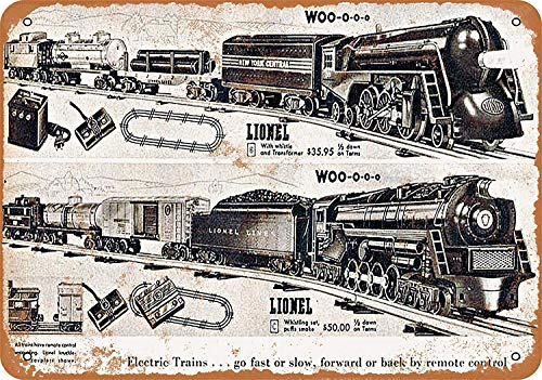 OURTrade 8 x 12 Tin Metal Sign - Vintage Look 1946 Lionel Toy Trains - Metal Edge-poster