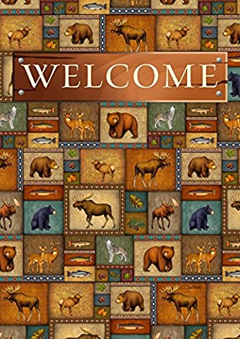 Toland Home Garden Quilted Wilderness Welcome Decorative House Flag 28 by 40