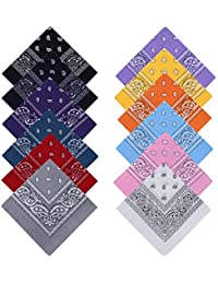YOHOOLYO Lot de 12 Bandanas Cheveux Homme et Femme Foulard Bandeau Multicolor Multifonction Cou Tête Echarpe Mouchoirs 100% Coton