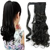17' Queue de Cheval Postiche Extension de Cheveux Ondulé - Wrap Around Ponytail Clip in Hair Extensions - Noir Naturel (43cm-120g)
