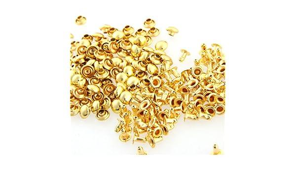 50 Komplette Nieten. Hohlnieten-Nieten-Ziernieten 10x10mm *Eisen* Farbe Gold