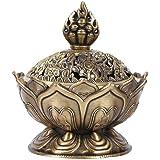 Vintage Backflow Smoke Incense Burner Censer Stick Cone Holder Home Decoration (Bronze)