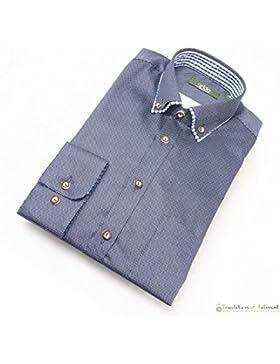 Trachtenhemd Herren Arido Langarm dunkelblau Doppelkragen