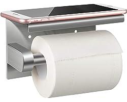 Porte Papier Toilette, Abree Porte Rouleau Papier toilettes sans percage Derouleur Papier WC mural, Acier Inoxydable 304, Adh