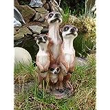 Figurine famille de suricates pour décoration de jardin 20 cm