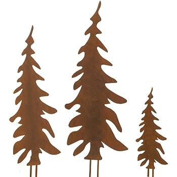 Weihnachtsdeko Aus Metall.Pureday Weihnachtsdeko Gartenstecker Set Tannenbaum Metall Rost Optik 3 Stück