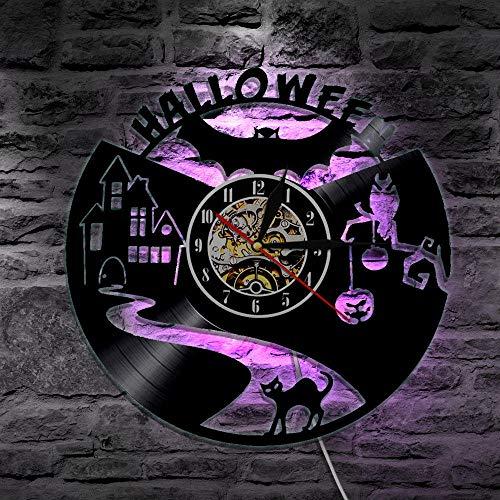 Mcolk Wanduhr Vinyl Schallplatte Wanduhr Bat Halloween Led Beleuchtung Uhren Modernes Design 3D Dekorative Hängende Klassische Cd Wand Wohnkultur (Disney Halloween Cartoons Vintage)