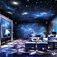 HUANGYAHUI Wandbilder Landhaus Dekoration Kosmischen Sky 3D Thema Wandbild  Bar Ktv Hintergrundbild Coffee Shop Decke Tapeten