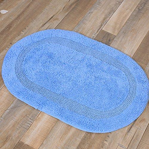 GRENSS Die Bäder sind Baumwolle Matten und Handtücher Baumwolle wc Fußmatte Fußmatte saugfähigen Rutschsichere Badewanne WC Maschinenwäsche, 45 X 65 cm, oval See blau (Ovale Badewanne Bad Matte)