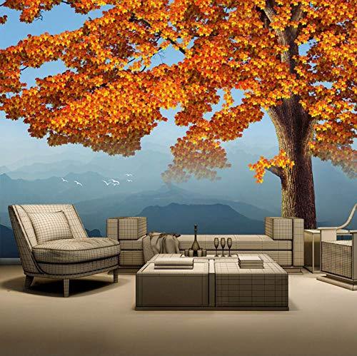 Hhcyy Tapete-Hintergrund-Wandgemälde Des Mapel-Blatt-Baum-Berg-3D Natur Tapeten Wandgemälde Der Natur-3D Für Wohnzimmer-250cmx175cm