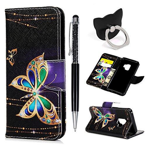 Hülle für Samsung Galaxy S9 Badalink Gold Schmetterling Handyhülle Leder PU Cover Magnet Flip Case Schutzhülle Kartensteckplätzen und Ständer Handytasche mit Eingabestifte und Ringschnalle