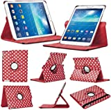 Stuff4 Polka Dot Designed Leather Smart Case with 360 Degree Rotating Swivel Action and Free Screen Protector/Stylus Touch Pen for 8 inch Samsung Galaxy Tab 3 T310/T311 - Red/White